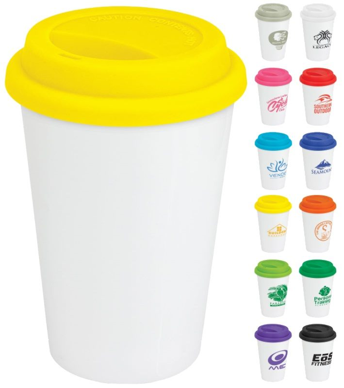 Silicone Pickering Ceramic Travel Mugs Lids Personalised 300ml Feature PkXTZOiu