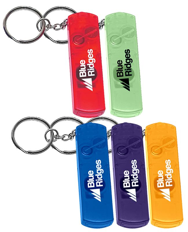 Battery Light Key Tags come in translucent colours