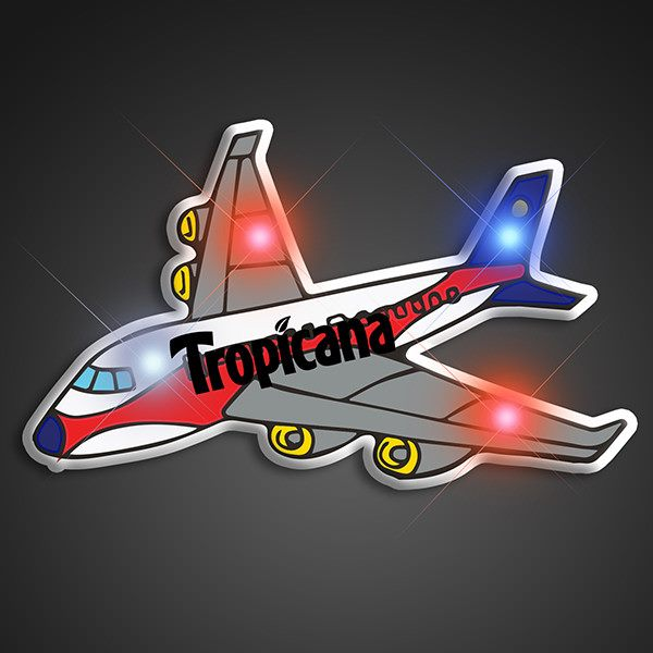 Personalised Blinking Airplane LED Lights Pins can be given to company