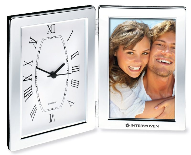 Frame Desk Clocks Are Finished In Shiny Sleek Silver