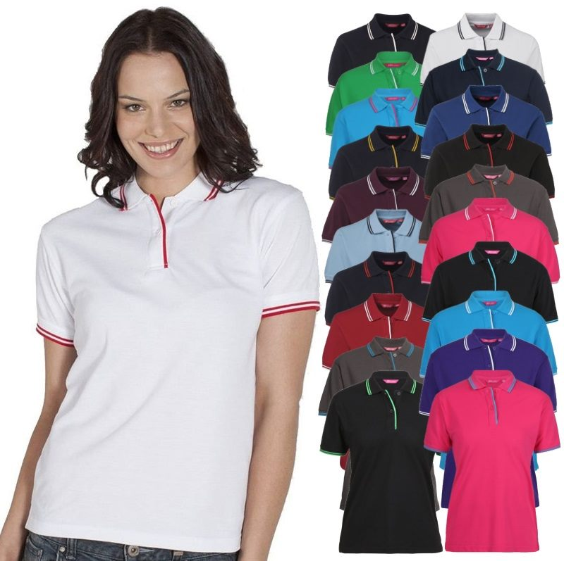 Womens contrast polo shirts make excellent corporate for Women s company logo shirts