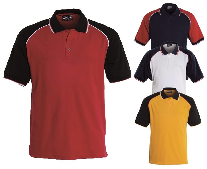 Mens Three Tone Promotional Polo Shirts Embroidered With Your