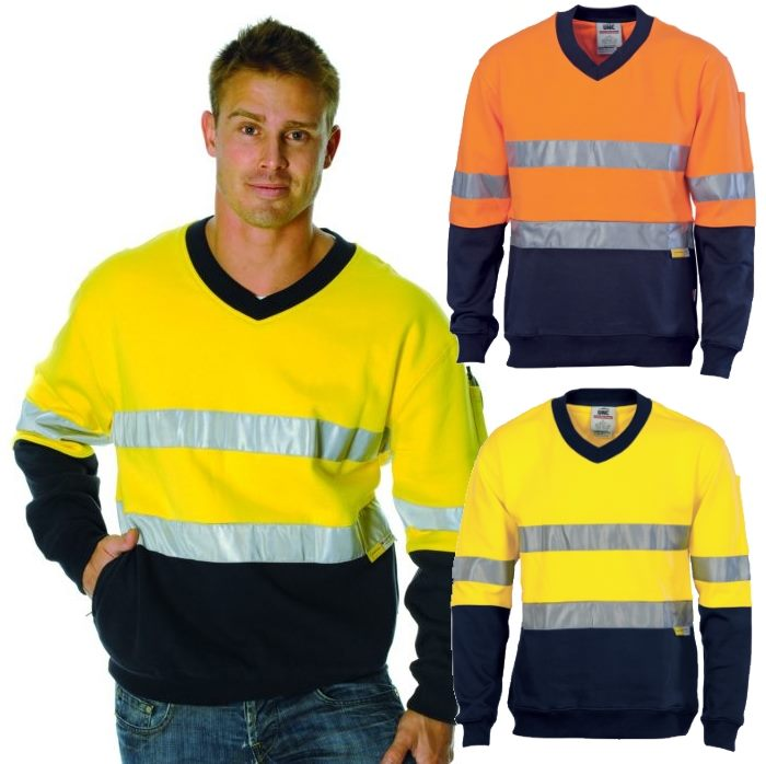 Hi vis reflective tape fleece shirts include side zip for Hi vis shirts with reflective tape