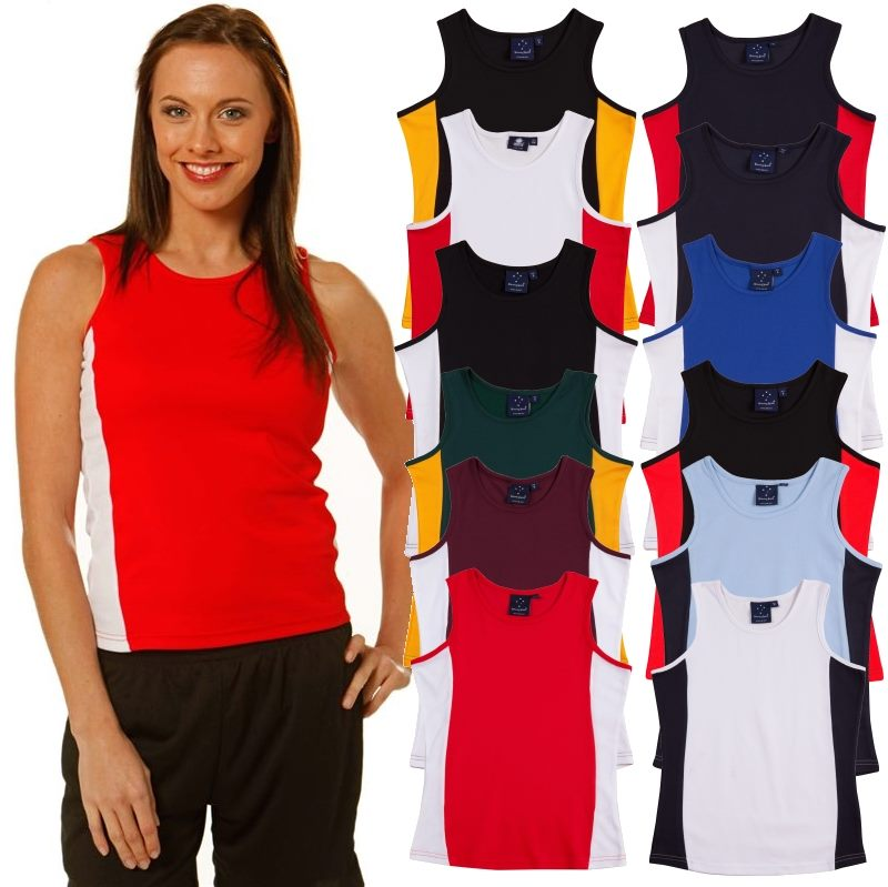 a1b404efa9b8bc Sleeveless Singlet ladies tops feature an extra layer of cotton backin