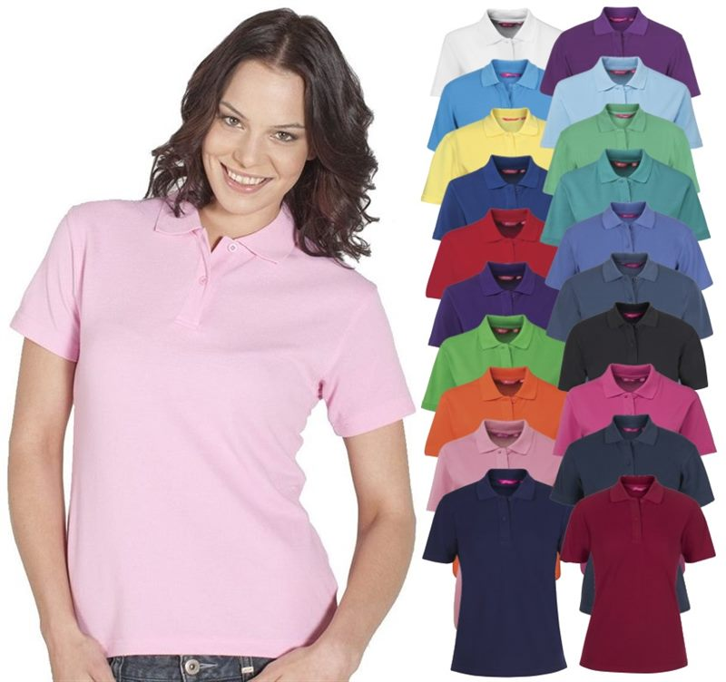 Staff uniform polo shirts for women available in blue for Work uniform polo shirts
