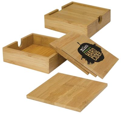 4 Bamboo Coaster Set