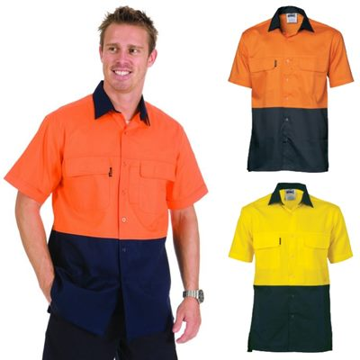 Short sleeve hi vis cotton work shirts are the latest in for Hi vis t shirts cotton