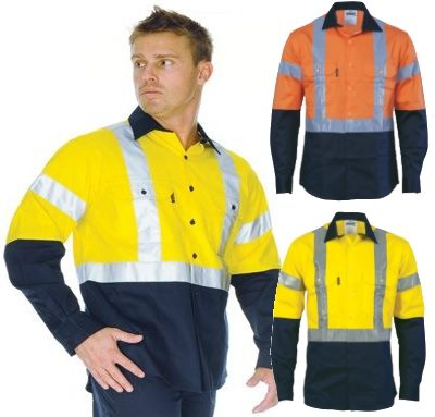 Hi vis reflective tape cotton shirts have a great two tone for Hi vis shirts with reflective tape