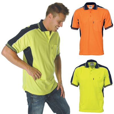 Yellow Hi Vis Polo Shirts In Poly Cotton Material With