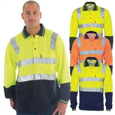 Hi vis reflective tape polo shirts are made from a for Hi vis shirts with reflective tape