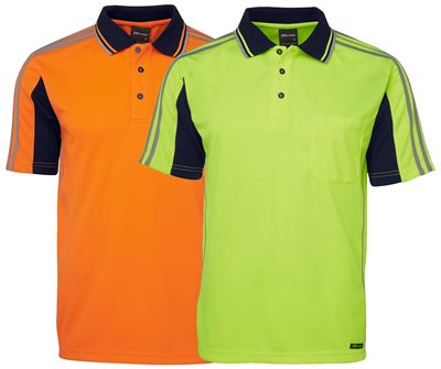 Hi vis work safety polo shirts can be customised with your for Polo work shirts with company logo