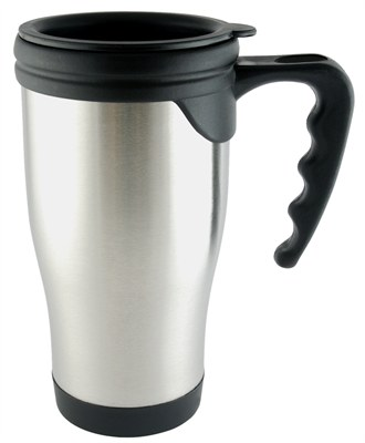 Thermos Mugs In Silver With Black Handle And Lid Are