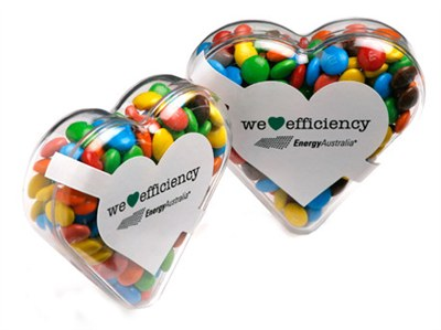 M&Ms Heart Promo Gifts have a personalized heart shaped box that can b