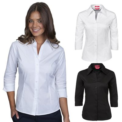 Womens Fitted Business Shirts available in black, red, navy and white