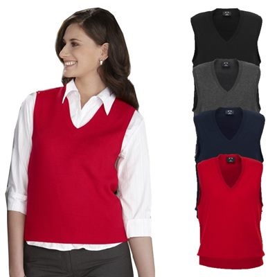 Our Women's V-Neck Vest is made from our signature UltraLux fabric, a fine washable % polyester. It features 2 front besom pockets, 4 simulated brass buttons, is fully lined and has a fitted silhouette. Available in black, burgundy, gray and navy.