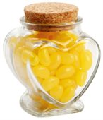 100 gram Glass Heart Jar Corporate Colour Mini Jelly Beans