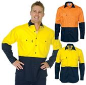Cotton Drill Long Sleeve Hi Vis Shirt