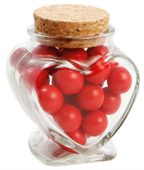 80 gram Glass Heart Jar Chocolate Red Balls