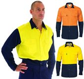Cotton Drill Hi Vis Shirt with Press Studs