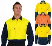 Hi Vis Long Sleeve Cotton Drill Shirt