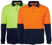 Hi Vis Long Sleeve Cotton Polo