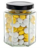 Large Hexagon Jar Corporate Colour Chocolate Beans