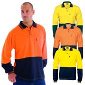 Hi Vis Long Sleeve Polo Jersey Shirt