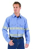Cotton Chambray Reflective Tape Work Shirt