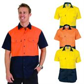 Cotton Drill Hi Vis Work Shirt